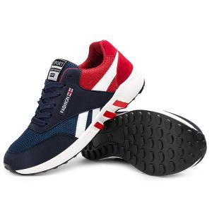 Breathable Lace-Up Color Block Athletic Shoes - RED 43