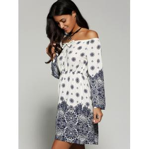 Off The Shoulder Print Summer Dress with Sleeves - WHITE XL