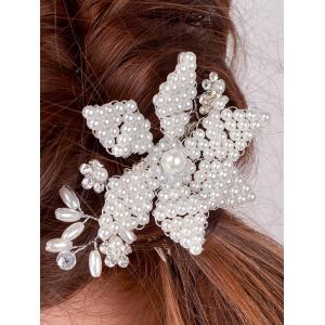 Filigree Faux Crystal Flower Hair Comb - PEARL WHITE