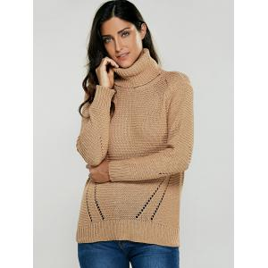 Turtleneck Hollow Out Pullover Sweater - KHAKI ONE SIZE