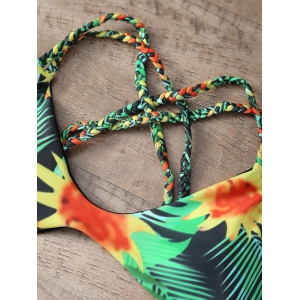 Sunflower Print Braided Cross Bikini Set - GREEN L