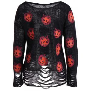 Pumpkin Ripped Halloween Knitwear - BLACK L