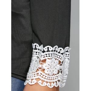 Cut Out Lace Spliced T-Shirt -