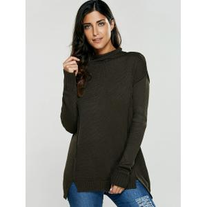 Asymmetric Mock Neck Pullover Sweater - OLIVE GREEN ONE SIZE