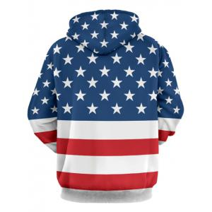 Stars and Stripes Pattern Long Sleeve Hoodie - COLORMIX 3XL