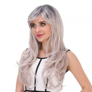 Long Side Bang Wavy Gray Gradient Golden Cosplay Synthetic Wig - COLORMIX