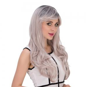 Long Side Bang Wavy Gray Gradient Golden Cosplay Synthetic Wig -