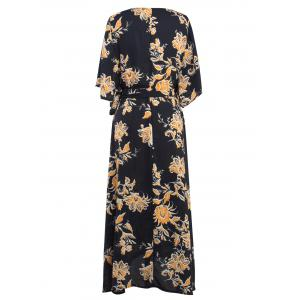Floral Printed Tied Wrap Maxi Dress - BLACK XL