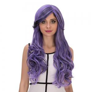Long Oblique Bang Wavy Purple Gradient Cosplay Synthetic Wig -