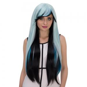 Cosplay Synthetic Long Multicolor Oblique Bang Straight Wig - COLORMIX