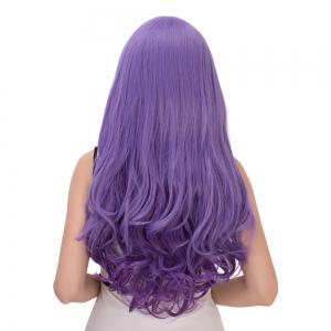 Purple Gradient Long Oblique Bang Wavy Cosplay Synthetic Wig -