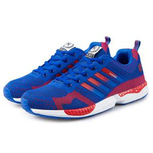 Breathable Color Spliced Tie Up Athletic Shoes - BLUE/RED 42