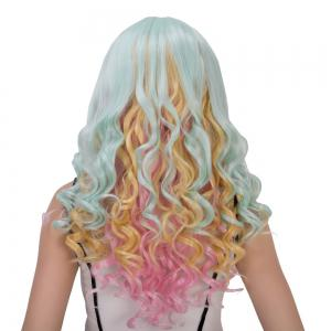 Colorful Long Oblique Bang Wavy Cosplay Synthetic Wig -