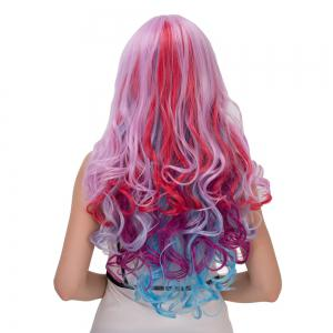 Colorful Long Inclined Bang Wavy Cosplay Synthetic Wig -
