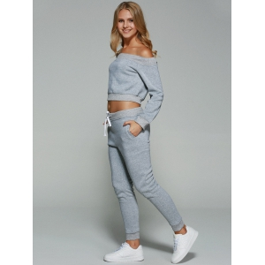 Active Off Shoulder Cropped Sweatshirt With Pants Gym Suit -
