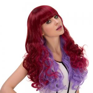 Wine Red Gradient Purple Long Full Bang Wavy Cosplay Synthetic Wig -