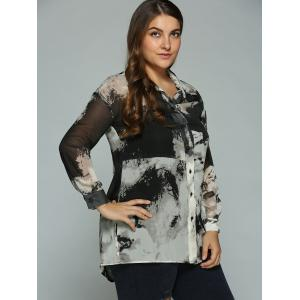 Plus Size Ink Painting Sheer Shirt -