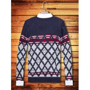 Color Block Argyle Pattern Crew Neck Long Sleeve Sweater -