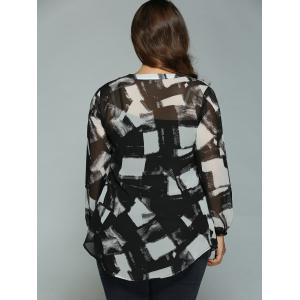 Plus Size Geometric Ink Painting Blouse -