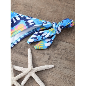 High Neck Zig Zag Bikini Set - BLUE L