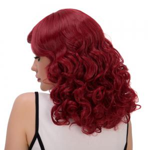 Towheaded Medium Side Bang Wavy Cosplay Synthetic Wig - WINE RED