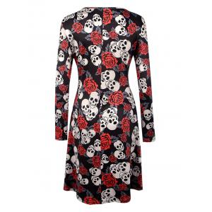 Halloween Skull Print Long Sleeve Dress - BLACK L