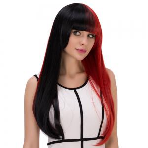 Double Color Long Full Bang Tail Adduction Cosplay Synthetic Wig - RED/BLACK