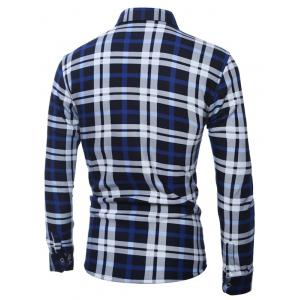 Plus Size Pocket Embellished Long Sleeve Plaid Shirt - BLUE 5XL