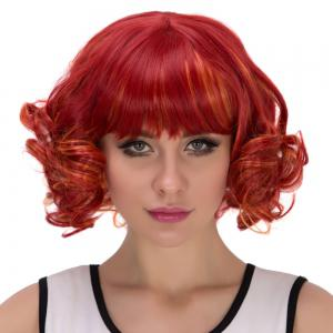 Red Highlights Orange Short Full Bang Curly Cosplay Synthetic Wig -