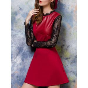 Leather Patchwork Lace Swing Dress -