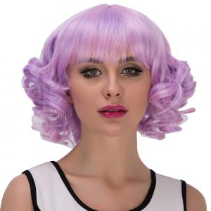 Purple Mixed Short Full Bang Curly Cosplay Synthetic Wig -