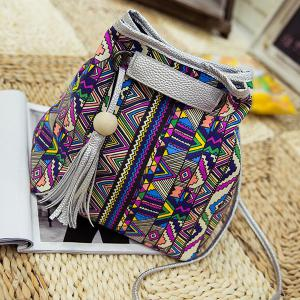 Ethnic Style Tassel Printed Crossbody Bag -