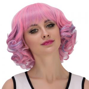 Powder Blue Highlights Short Full Bang Curly Cosplay Synthetic Wig - COLORMIX