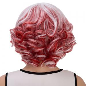 Double Color Short Full Bang Curly Cosplay Synthetic Wig -