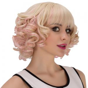 Powder Mixed Light Golden Short Full Bang Curly Cosplay Synthetic Wig - COLORMIX