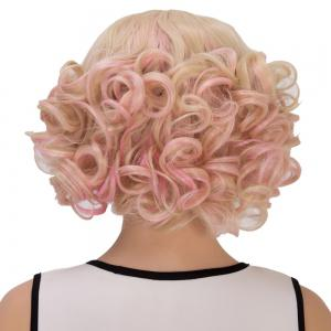 Powder Mixed Light Golden Short Full Bang Curly Cosplay Synthetic Wig -