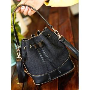 Splicing Drawstring Denim Crossbody Bag -