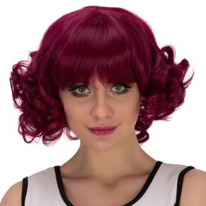Short Full Bang Curly Cosplay Synthetic Wig - RED VIOLET