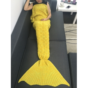 Fish Scale Knitted Sofa Wrap Mermaid Blanket -