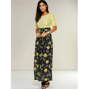 High-Waisted Floral Casual Maxi Dress -