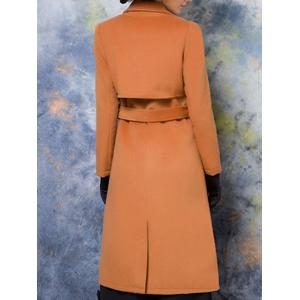 Lapel Collar Wool Blend Maxi Coat -