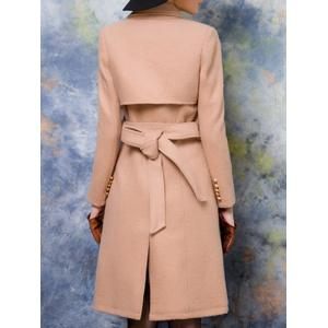 Double-Breasted Belted Wool Blend Coat -