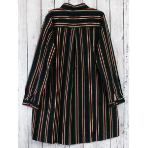 Long Sleeve A Line Striped Shirt Dress -
