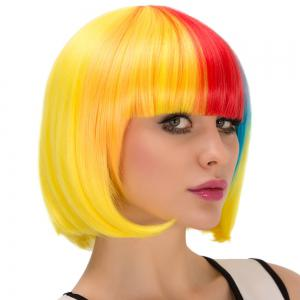 Cosplay Synthetic Colored Short Full Bang Bob Haircut Wig - COLORMIX