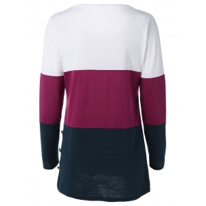 Buttoned Color Block T-Shirt -