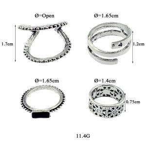 Vintage Alloy Geometric Jewelry Ring Set - SILVER ONE-SIZE