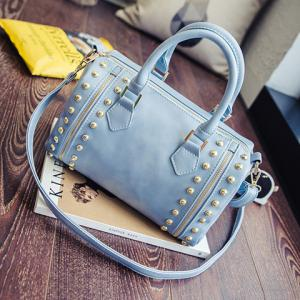 Multi Zips Rivet PU Leather Tote -