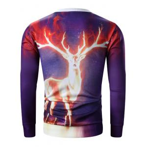 3D Flame Elk Print Round Neck Sweatshirt - PURPLE 2XL