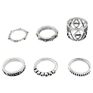 Engraved Love Geometric Jewelry Ring Set - SILVER ONE-SIZE