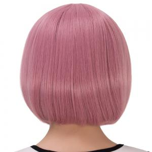 Fascinating Synthetic Cosplay Short Full Bang Bob Haircut Wig - LIGHT PINK